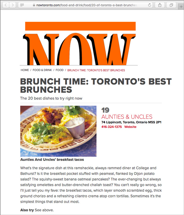 TORONTO'S BEST BRUNCHES - The 20 best dishes to try right now