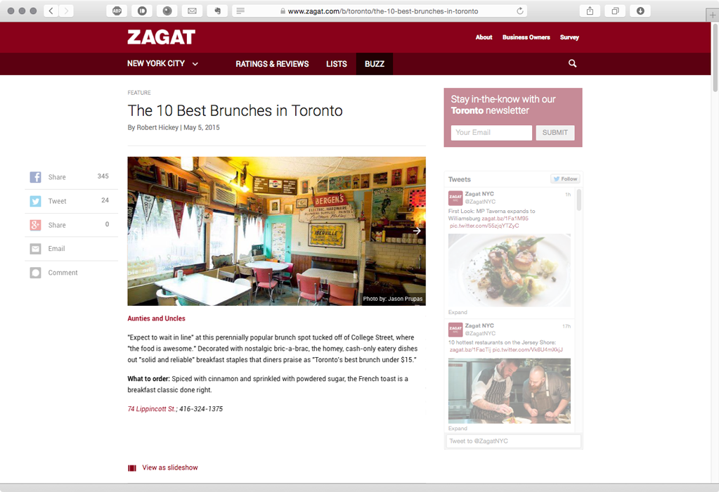 Zagat's 10 Best Brunches in Toronto